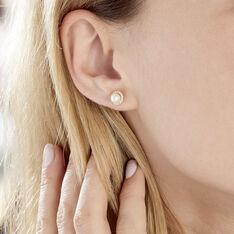 Boucles D'oreilles Puces Grizel Or Jaune Perle De Culture Et Oxyde - Clous d'oreilles Femme | Marc Orian