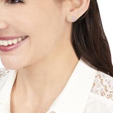 Boucles D'oreilles Puces Vrille Ovale Or Blanc Amethyste - Clous d'oreilles Femme | Marc Orian