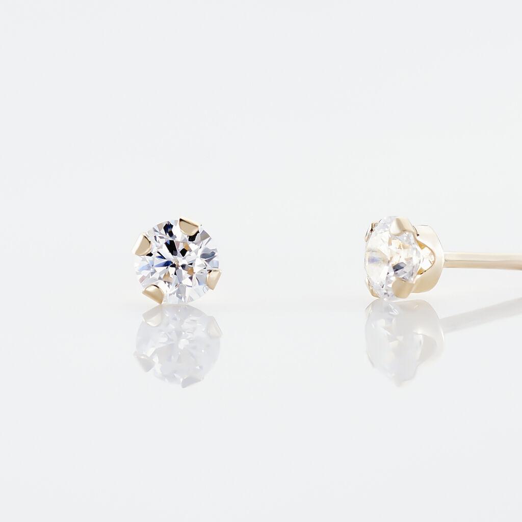Boucles D'oreilles Puces Eddie Or Jaune Oxyde De Zirconium - Clous d'oreilles Femme | Marc Orian