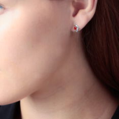 Boucles D'oreilles Puces Lydia Or Bicolore Rubis - Clous d'oreilles Femme | Marc Orian
