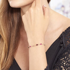 Bracelet Plaque Or Ilvaae Pierres Multi-roses - Bracelets chaînes Femme | Marc Orian