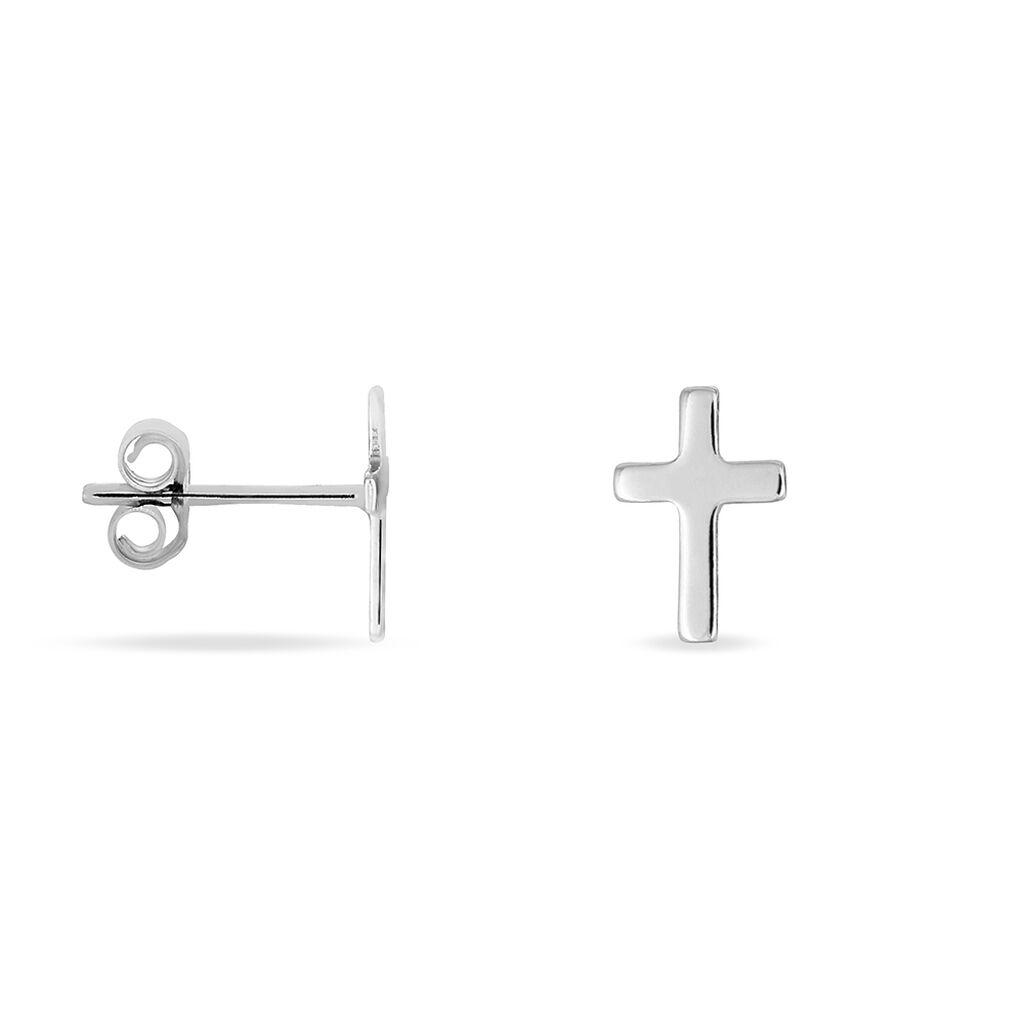 Boucles D'oreilles Argent Rhodie Puce Croix - Clous d'oreilles Femme | Marc Orian
