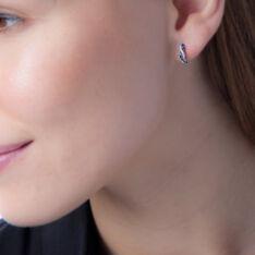 Boucles D'oreilles Puces Ligera Or Blanc Saphir Et Diamant - Clous d'oreilles Femme | Marc Orian