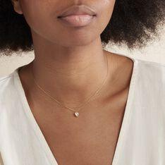 Collier Coeur Serti Clos Or Jaune Oxyde De Zirconium - Colliers Femme   Marc Orian