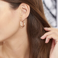 Creoles Argent Rose Diamantees - Boucles d'oreilles Créoles Femme | Marc Orian