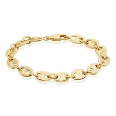 Bracelet William Maille Grain De Cafe Plaque Or Jaune - Bracelets mailles Homme | Marc Orian