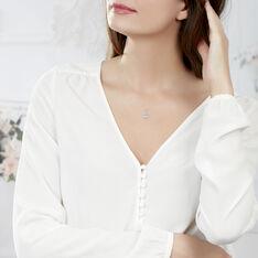 Collier Sunset Or Blanc Topaze Et Diamant - Colliers Femme   Marc Orian