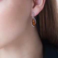 Boucles D'oreilles Pendantes Vyara Argent Blanc Ambre - Boucles d'oreilles Pendantes Femme | Marc Orian