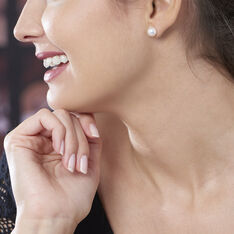 Boucles D'oreilles Puces Kesya Nacres Bouton Or Jaune Perle De Culture - Clous d'oreilles Femme   Marc Orian