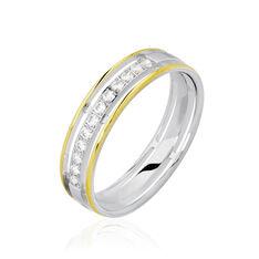 Alliance Serti Grains Ajoures Or Bicolore Diamant - Alliances Femme | Marc Orian