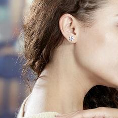Boucles D'oreilles Or Blanc Augustina Topazes Fleurs - Clous d'oreilles Femme | Marc Orian
