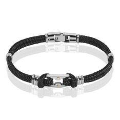 Bracelet Acier Cordons Noirs Et Or 21cm - Bracelets cordons Homme | Marc Orian