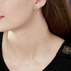 Boucles D'oreilles Puces Yalina Or Rose Topaze Et Oxyde De Zirconium - Clous d'oreilles Femme | Marc Orian