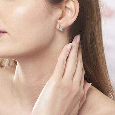 Boucles D'oreilles Puces Sagesse Or Jaune Emeraude Et Diamant - Clous d'oreilles Femme | Marc Orian