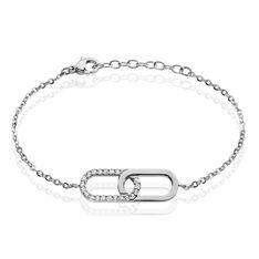 Bracelet Acier Rekia Maillons Entrelaces Pavage Strass - Bracelets chaînes Femme | Marc Orian