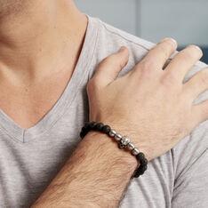 Bracelet Leto Acier Blanc Pierre De Lave - Bracelets chaînes Homme | Marc Orian