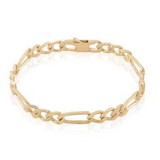 Bracelet Bixente Maille Alternee 1/3 Plaque Or Jaune - Bracelets mailles Femme | Marc Orian