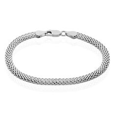 Bracelet Argent Rhodie Maille Serpent - Bracelets fantaisie Femme   Marc Orian