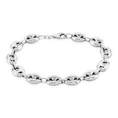 Bracelet Carrus Maille Grain De Cafe Argent Blanc - Bracelets mailles Homme | Marc Orian