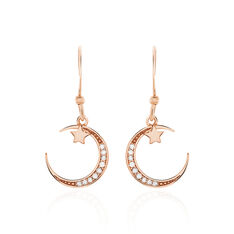 Boucles D'oreilles Pendantes Elizaveta Argent Rose Oxyde De Zirconium - Boucles d'oreilles Pendantes Femme | Marc Orian