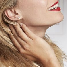 Boucles D'oreilles Puces Lola-rose Argent Blanc Oxyde De Zirconium - Clous d'oreilles Femme   Marc Orian
