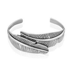 Bracelet Manchette Plimouya Acier Blanc - Bracelets manchettes Femme | Marc Orian