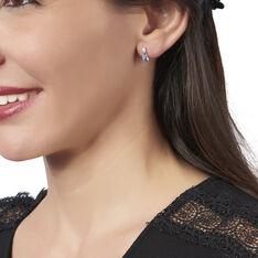 Boucles D'oreilles Puces Fiena Or Blanc Topaze Et Oxyde De Zirconium - Clous d'oreilles Femme | Marc Orian