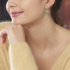 Boucles D'oreilles Pendantes Veina Plaque Or Jaune Aventurine - Boucles d'oreilles Pendantes Femme | Marc Orian