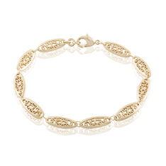 Bracelet Kathlyne Maille Filigrane Plaque Or Jaune - Bracelets fantaisie Femme | Marc Orian