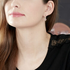Boucles D'oreilles Pendantes Ondulation Or Bicolore Rubis Et Diamant - Boucles d'oreilles Pendantes Femme   Marc Orian