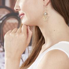 Boucles D'oreilles Pendantes Cercle Or Jaune Perle De Tahiti - Boucles d'oreilles Pendantes Femme   Marc Orian