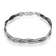 Bracelet Elae Maille Tresse Argent Blanc - Bracelets fantaisie Femme | Marc Orian