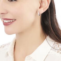 Créoles Anne-sixtine Argent Blanc Oxyde De Zirconium - Boucles d'oreilles Créoles Femme | Marc Orian
