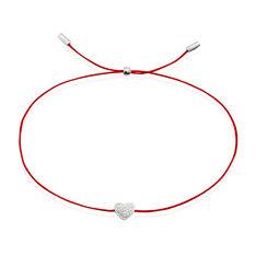 Bracelet Or Blanc Dimitra Cordon Cœur Diamants - Bracelets cordons Femme | Marc Orian