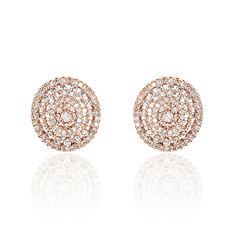 Boucles D'oreilles Puces Anastasia Plaque Or Rose Oxyde De Zirconium - Clous d'oreilles Femme   Marc Orian