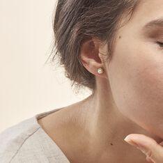 Boucles D'oreilles Puces Valliamee Diamante Or Jaune Perle De Culture - Clous d'oreilles Femme | Marc Orian