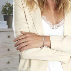 Bracelet Identité Caroline Maille Grain De Cafe Argent Blanc - Gourmettes Femme | Marc Orian
