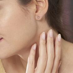 Boucles D'oreilles Puces Eleanor Fleur Or Rose Oxyde De Zirconium - Clous d'oreilles Femme | Marc Orian