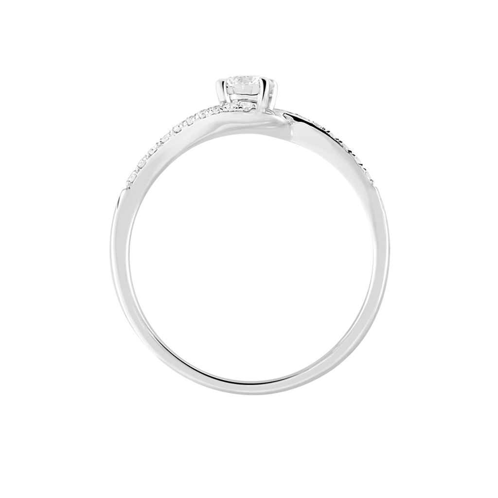 Bague Vrille Accompagnee Or Blanc Diamant - Bagues Solitaire Femme   Marc Orian
