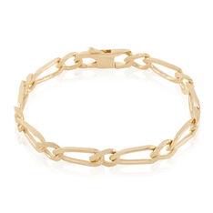Bracelet Cameron Maille Alternee 1/1 Plaque Or Jaune - Bracelets mailles Femme | Marc Orian