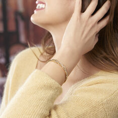 Bracelet Jonc Imae Plaque Or Jaune Oxyde De Zirconium - Bracelets jonc Femme | Marc Orian