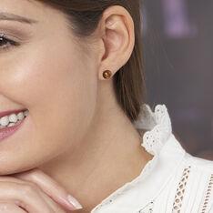 Boucles D'oreilles Puces Brunhild Argent Blanc Ambre - Clous d'oreilles Femme | Marc Orian