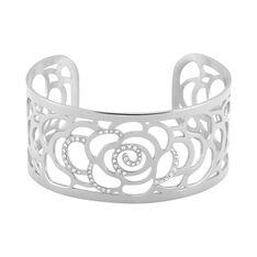 Bracelet Jonc Meyline Acier Blanc Strass - Bracelets jonc Femme | Marc Orian