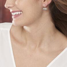 Bijoux D'oreilles Yannique Argent Blanc Oxyde De Zirconium - Boucles d'oreilles Ear cuffs Femme   Marc Orian