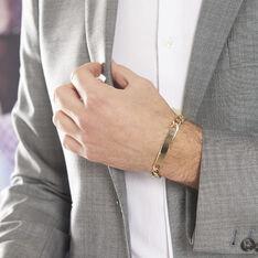 Bracelet Identité Bixente Maille Alternee 1/3 Plaque Or Jaune - Gourmettes Homme | Marc Orian