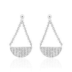 Boucles D'oreilles Pendantes Katia Argent Blanc Oxyde De Zirconium - Boucles d'oreilles Pendantes Femme | Marc Orian