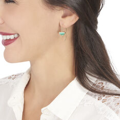 Boucles D'oreilles Pendantes Florica Or Jaune Malachite - Boucles d'oreilles Pendantes Femme   Marc Orian