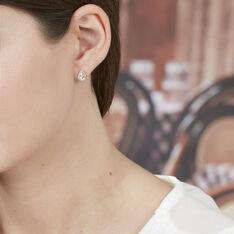 Boucles D'oreilles Puces Alice Or Rose Morganite Et Oxyde De Zirconium - Clous d'oreilles Femme | Marc Orian
