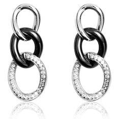 Boucles D'oreilles Pendantes Link Argent Céramique Et Oxyde - Boucles d'oreilles Pendantes Femme | Marc Orian