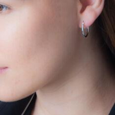 Créoles Verania Lisses Fil Rond Or Blanc - Boucles d'oreilles Créoles Femme   Marc Orian